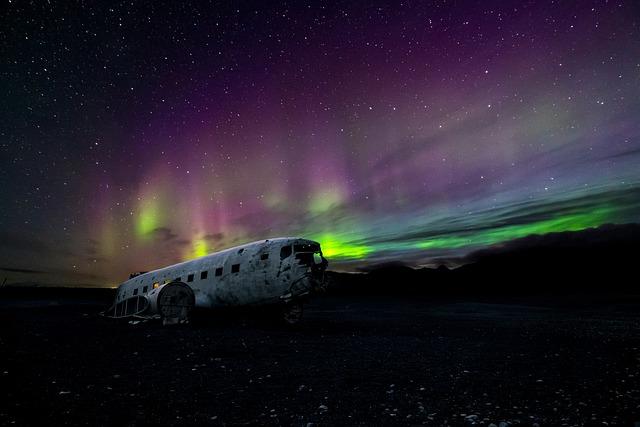 Aircraft, Airplane, Aurora Borealis, Dark, Night