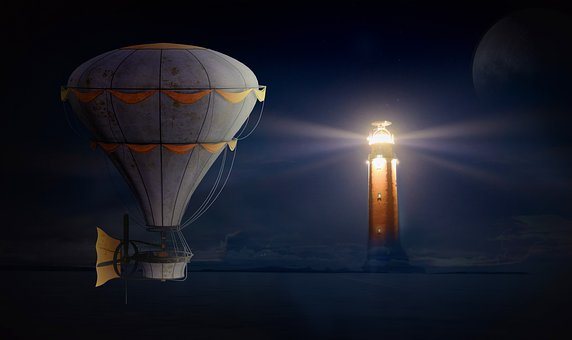 Balloon, Lighthouse, Night Sky, Glow, Night, Sea