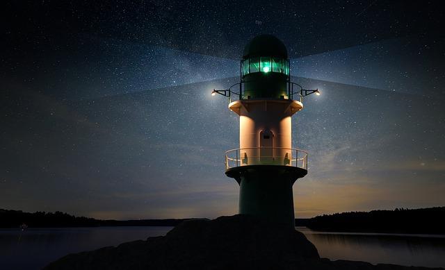 Lighthouse, Beacon, Night, Star, Starry Sky