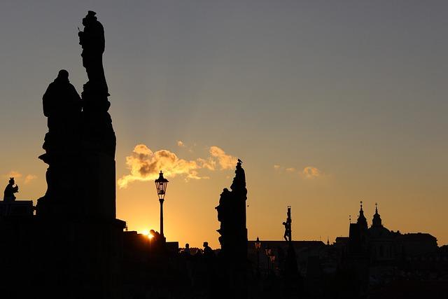 Prague, Night, Statuary, Bridge
