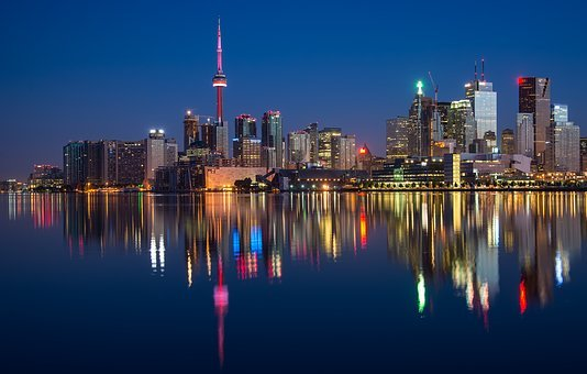 Buildings, Can, Cn Tower, Canada, Colorful, Night