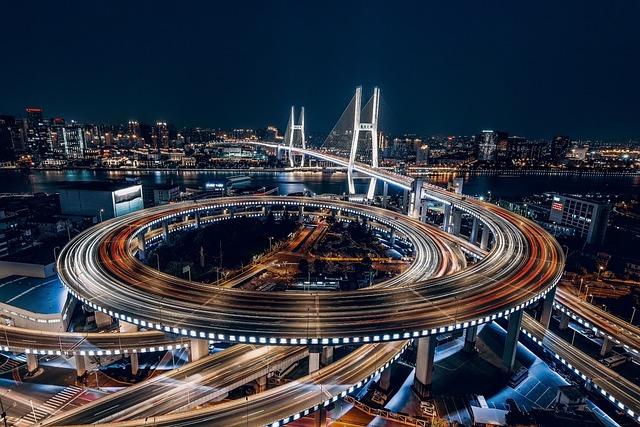 City, Shanghai, China, Night, Building, Lights, Modern