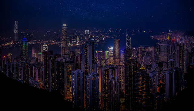 Hong Kong, China, Port, City, Skyscrapers, Night