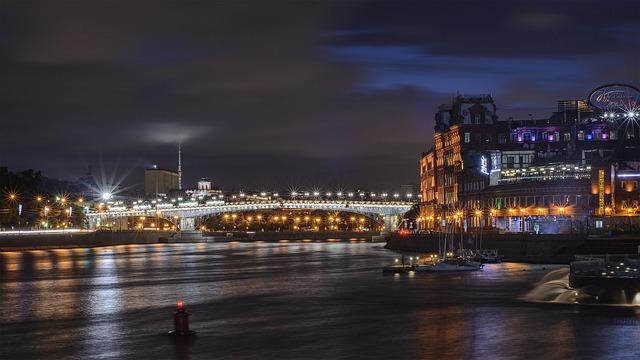 Moscow, Night, River, City, Night City, Night Lights
