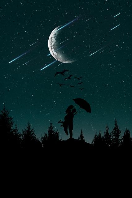 Night, Love, Sky, Woman, Romantic, Couple, Girl, Man