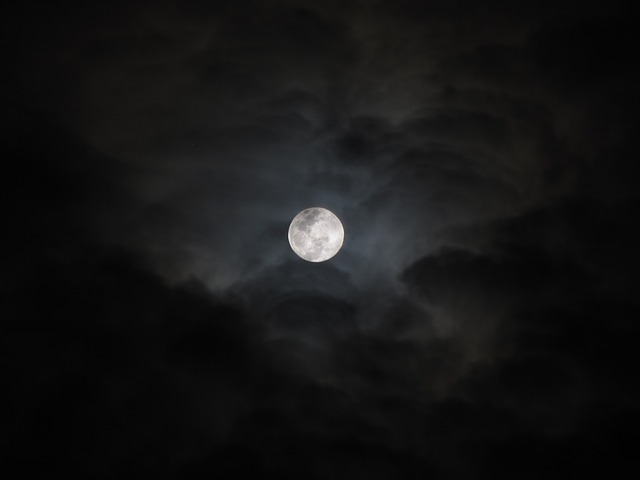 Moonlight, Night, Clouds, Sky, Full Moon, Dark