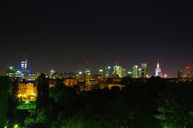 Warsaw, Night, Downtown, The City Centre, Light