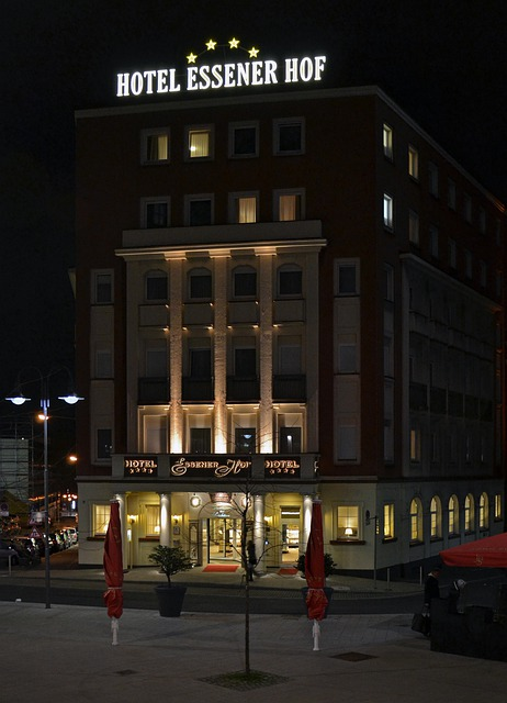 Essener, Germany, Hotel, Building, Architecture, Night