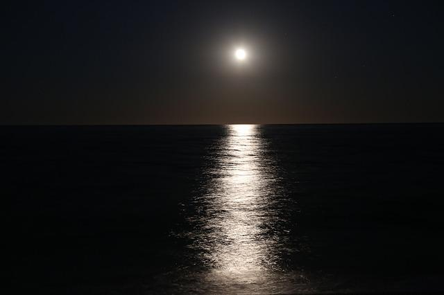 Moon, Water Reflection, Night, Evening, Reflection