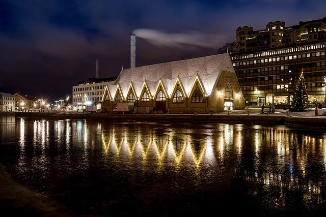 Feskekyrkan, Fiskekyrka, Gothenburg, Night, City, Water