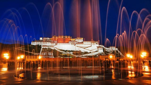Lhasa, The Potala Palace, Fountain, Night