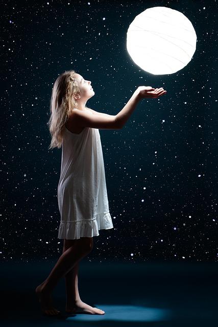 Moon, Star, Girl, Child, Space, Sky, Night, Blue