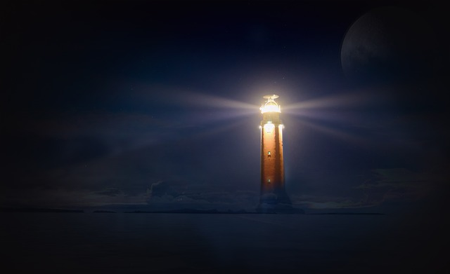 Lighthouse, Glow, Night, Sea, Photo Montage
