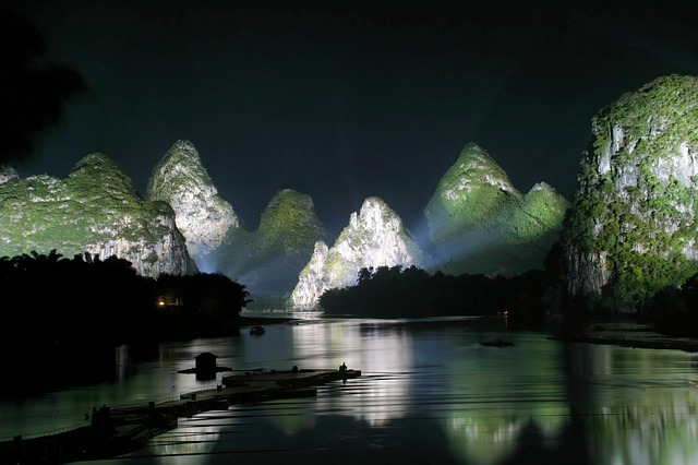Guilin, Mountains, Landscape, River, China, Night