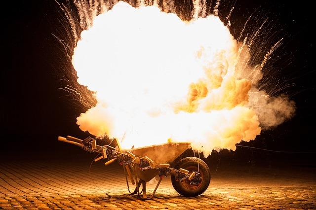 Explosion, Night, Smoke, Fireworks, Pyrotechnics, Hell