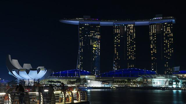 Singapore, Night, Marina, Asia, Hotel, Architecture