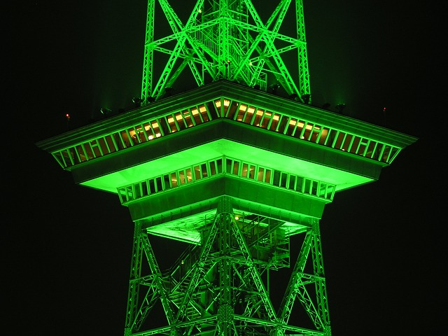 Radio Tower, Berlin, Night, Green, Illuminated