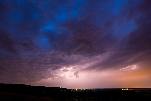 Thunderstorm, Night, Landscape, Sky, Flash