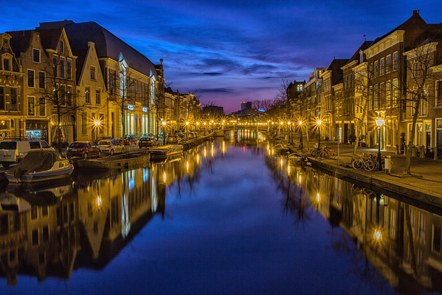 City, Night, Waterway, Channel, Night Sky, Lights