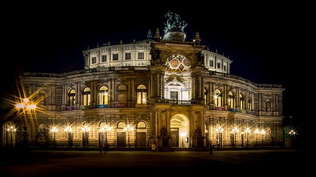 Night, Lights, Dresden, Semper Opera House