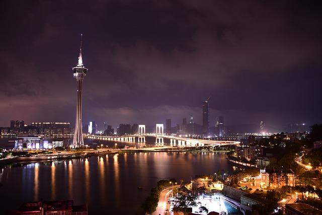 Macau, Tower, Macao, Asia, Tourism, Night, Architecture