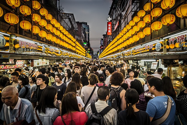 Night Market, Crowd, Seafood, Taiwan, Keelung, Asia