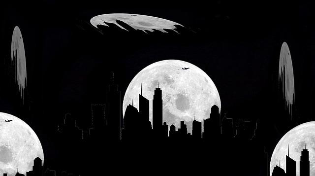 Buildings, Against Light, Night, Moon, Moonlight