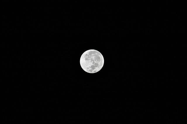 Moon, Full Moon, Space, Night, Sky, Moonlight, Black