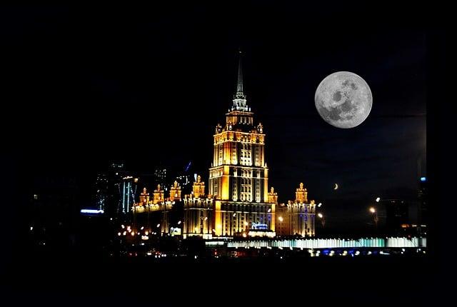 Moscow, Russia, Moon, Night, Moonlight, Moonlit Night