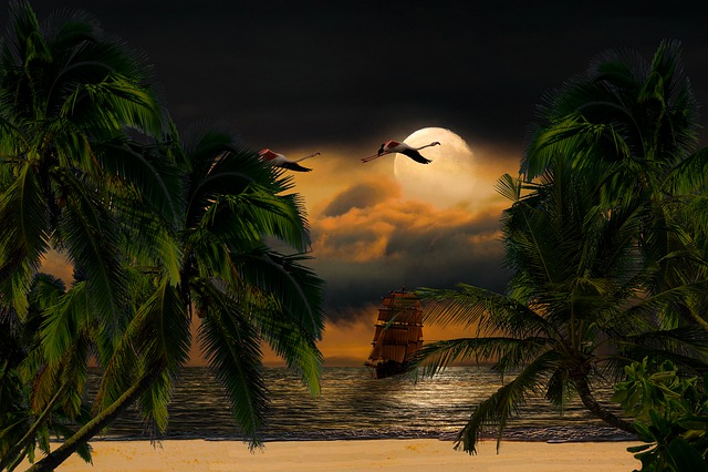 Landscape, Nature, Sea, Night, Beach, Moon, Clouds