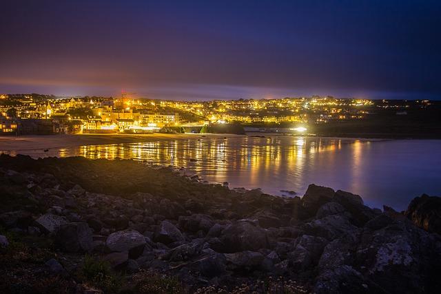 St Ives, Ocean, Low Tide, Night, City, Cornwall