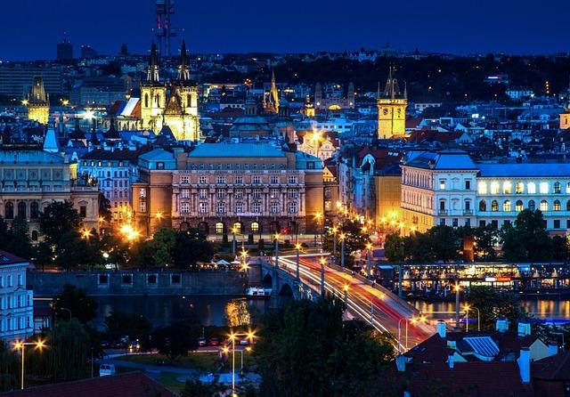 Prague, Panorama, Night Photograph, Lights