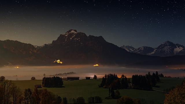Mountains, Alpine, Lake Forggensee, Night Photograph