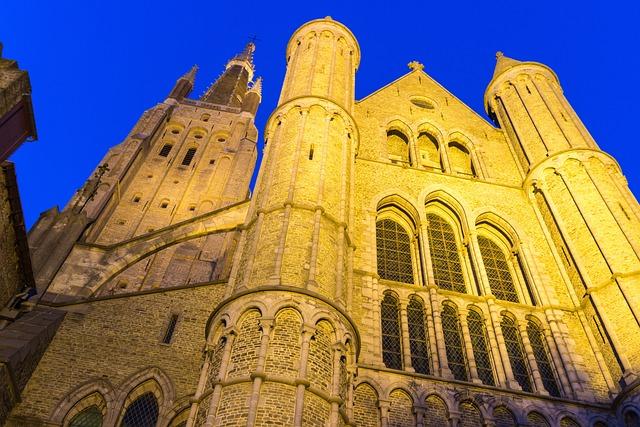 Bruges, Church, Night Photograph, Romantic, Religion