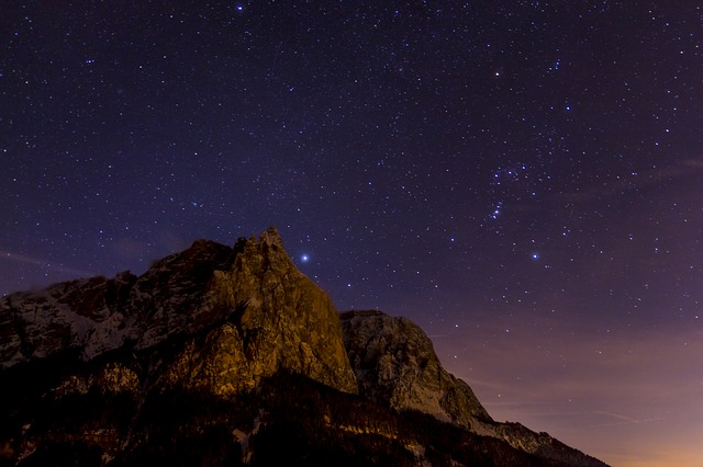Night Photograph, Star, Schlern, Santner Peak