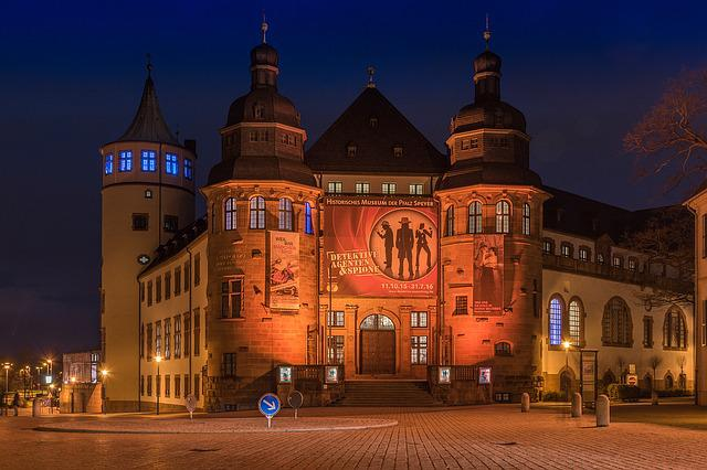 Speyer, Night Photograph, Cathedral Square, Museum