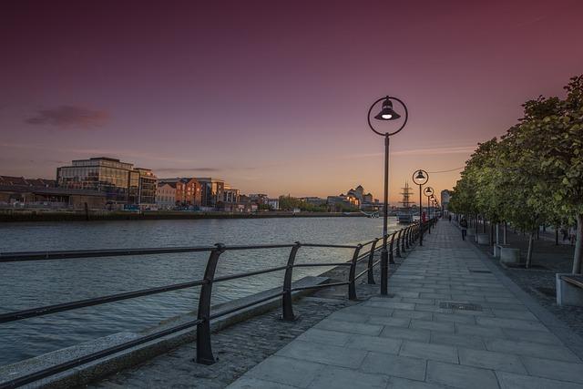 Dublin, Night, City, Urban, Cityscape, Sky, Reflection