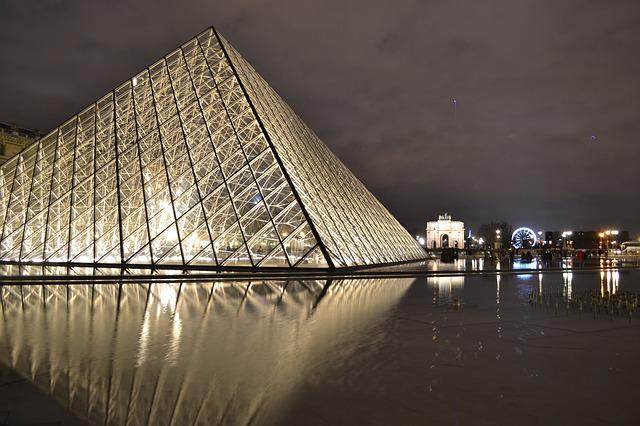 Paris, Night, Louvre, Pyramid, Glass, Reflection, Water