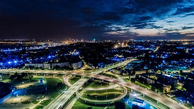 Riga, Aerial View, Night, Traffic, Streets, Roads