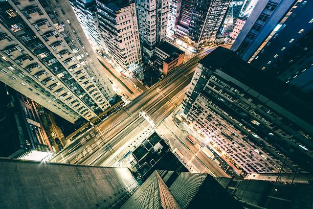 Architecture, Buildings, City, Downtown, Night, Road