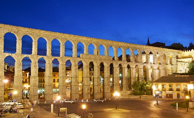 Aqueduct, Segovia, Night, Roman, Spain, Architecture