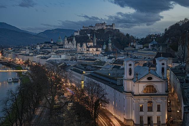 Salzburg, City, Night, Lights, River, Church, Cathedral