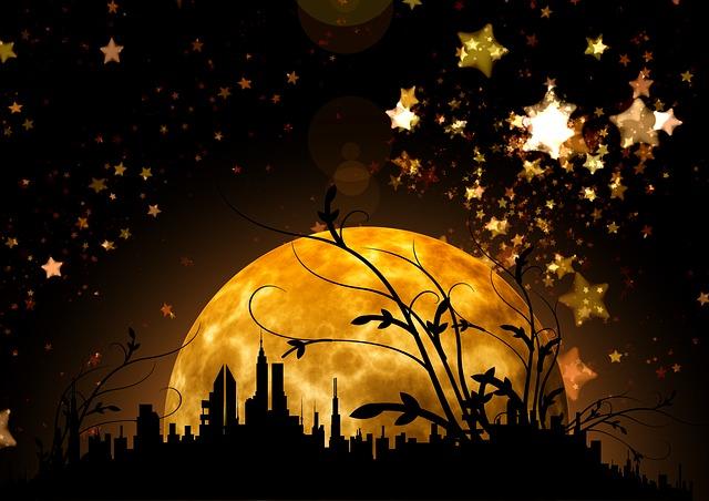 Night, Star, Sky, Silhouettes, City, Houses, Marvel