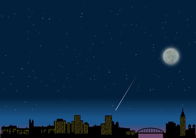 Night, Sky, City, Moon, Shooting Star, Silhouette, Mood