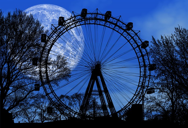 Dusk, Full Moon, Fun, Night Sky, Park, Moon, Moonlight