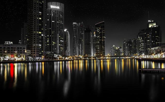 Dubai, Cityscape, Night, Skyscraper, Marina