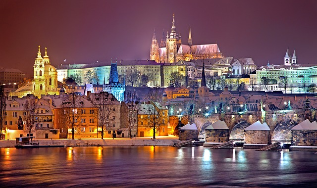Prague, Winter, Night, Snow, Prague Castle