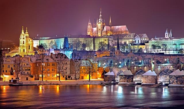 Prague, Winter, Night, Snow, Prague Castle