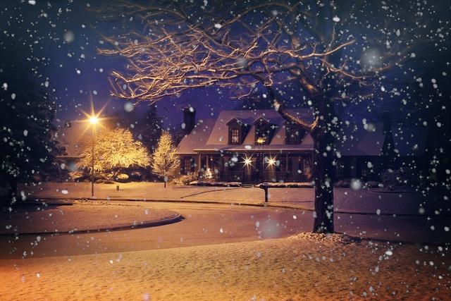 Midnight Snow, Night Snow, Snowy, Winter, House, Home