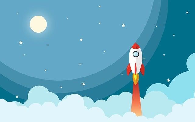 Space, Rocket, Night, Cartoon, Universe, Star, Moon
